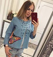 Стильный женский джинсовый пиджак у-86014