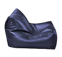 Синее бескаркасное кресло-лежак из кож зама Зевс