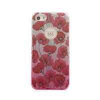 Чехол силиконовый Mask Collection Красный мак в серебре для iPhone 5