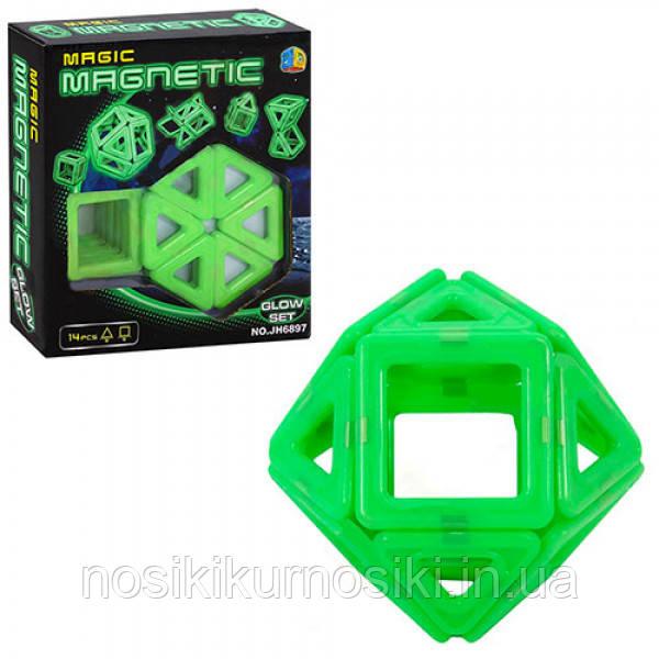 Конструктор магнитный Magic Magnetic 14 деталей, светится в темноте