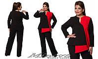 Женский строгий костюм брюки и туника длинный рукав креп-костюмка Размеры:50,52,54,56,58