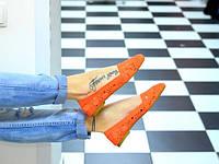 Женские балетки,кружевной гипюр,оранж.