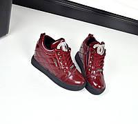 Демисезонные ботинки Шанель эко кожа, внутри на флисе, танкетка 7 см. Цвет бордовый