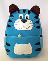 """Рюкзак игрушка детский мягкий"""" Котик"""" из неопрена для школы,детсада,в поездку синего цвета"""