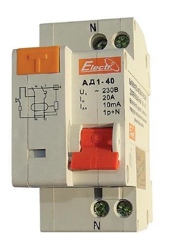 Дифференциальный автомат АД 1-40, 1Р+N, 32А 30 мА