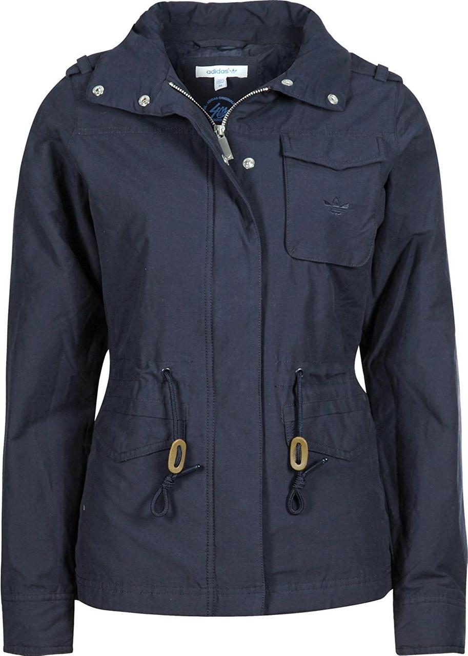 Куртка спортивная женская adidas Short Parka W68089 (темно-синяя, весна / осень, блейзер, с логотипом адидас)