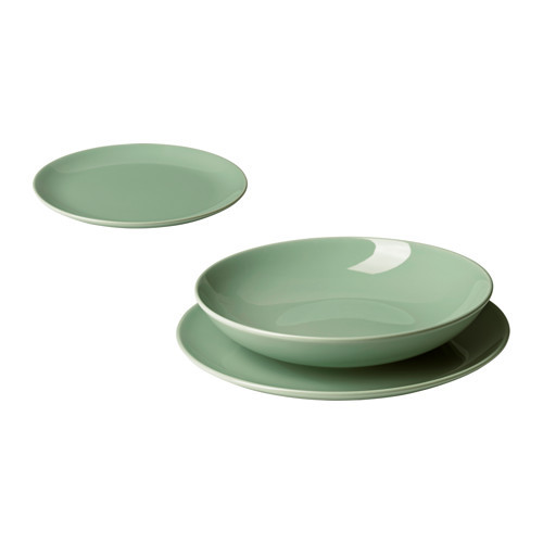 """IKEA """"ФЭРГРИК"""" Сервиз,18 предметов, фаянс, светло-зеленый"""