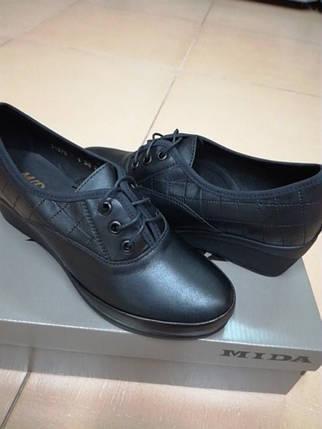 Женские кожаные туфли на невысокой танкетке МИДА 21870 черные., фото 2
