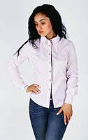 Стильная женская рубашка в розовый горошек