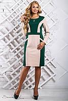 Стильное женское трикотажное платье прямое размеры от 52 до 58, зелёный/беж