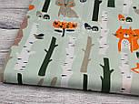 """Отрез ткани """"Лисички с березами"""" на серо-мятном фоне (№910а) размер 52*160, фото 6"""