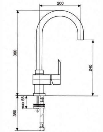 Кухонный смеситель Emmevi Sicily U мат SC38089, фото 2