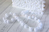 Тесьма с помпонами 20 мм белая