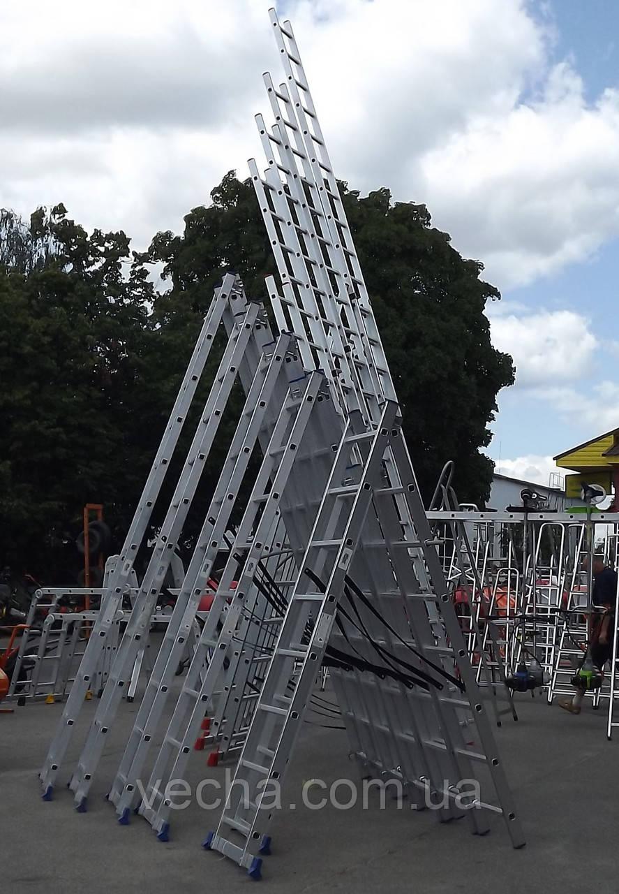 Практика  Plus усиленная лестница трехсекционная 3х9 до 7 метров