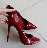 Женские туфли бордо реплика Christian Louboutin лодочки рептилия