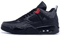 Баскетбольные кроссовки Nike Air Jordan 4 Split Leather,черные арт.1278