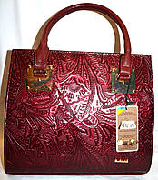 Женская бордовая каркасная сумка B Elit с перфорацией 31*28
