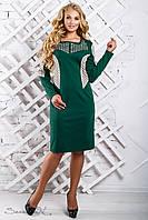 Женское трикотажное платье прямое, с длинным рукавом,с перфорацией, зелёное, размер 50, 52, 54, 56