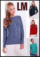 Красивый свитер 8818 44 46 48 50 р женский голубой зеленый красный теплый зимний батал шерстяной вязанный ажур