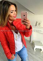 Стильная женская курточка на замке ворот стойка плащевка+синтепон 150 + на подкладке размеры: 42-44, 44-46