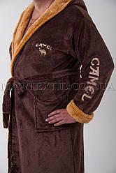 Мужской махровый халат коричневый (СAMEL)