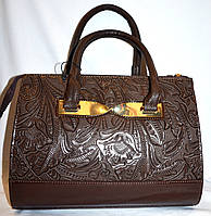Женская каштановая каркасная сумка с перфорацией B Elit без ремешка 26*33