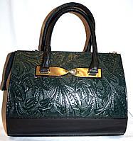 Женская зеленая каркасная сумка с перфорацией B Elit без ремешка 26*33