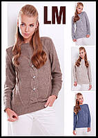 Модный свитер 8818 44 46 48 50 р женский джемпер однотонный шерстяной батал светлый теплый зимний с косами