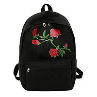 Рюкзак женский городской с розами (черный)