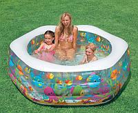 """Надувной детский бассейн """"Риф"""" 191 х 178 х 61 см, Intex 56493 (надувное дно)"""