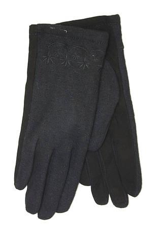 Женские перчатки комбинированные Замша и кашемир Большие, фото 2
