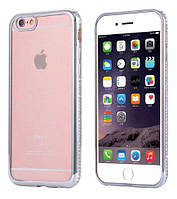Cиликоновый чехол с серебристыми ободками и камушками Swarovski для Iphone 7 и Iphone 8 (4.7), фото 1