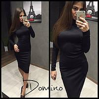 Женское теплое платье, стильно платье-футляр с уютным высоким воротом и накладными боковыми карманами