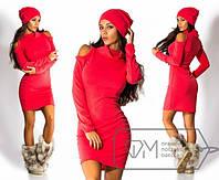 Женское теплое платье,- трикотаж-ангора,  длина изделия 90 см.