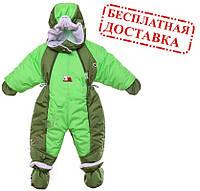 Детский комбинезон трансформер на флисе (Хаки с зеленым)
