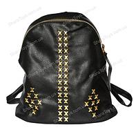 Чёрный рюкзак из кожзаменителя