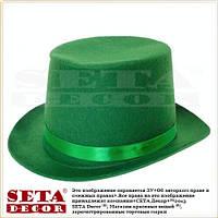 Цилиндр шляпа на прокат на день святого Патрика с трилистником (клевером)(St.Patrick's Day) зеленый