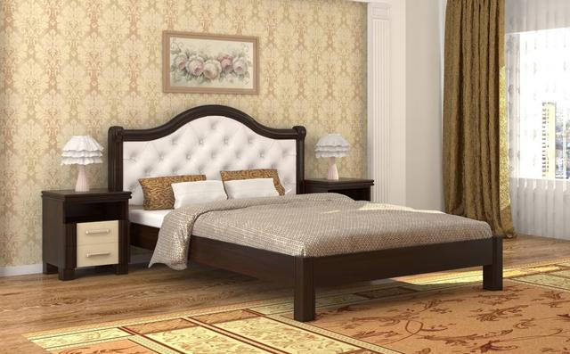 Кровать Екатерина орех темный+беж