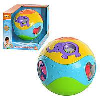 Игра 0728 NL Музыкальный мяч, муз, свет, на бат-ке, в кор-ке, 17,5-17,5-17,5см