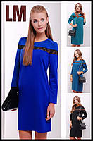 Красивое платье 881626 Р 42 44 46 48 50 женское деловое с гипюром синее батал осеннее весеннее голубое черное