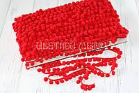 Тесьма с помпонами 10 мм красная