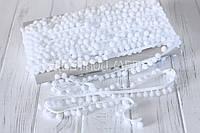 Тесьма с помпонами 10 мм белая