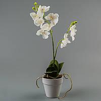 Орхидея в вазоне (33 см) цветы силиконовые