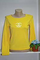 Трикотажный женский гольф ШАНЕЛЬ желтого цвета хлопок, фото 1