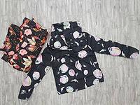 Куртка женская в цветочек с высоким воротником стойкой 803