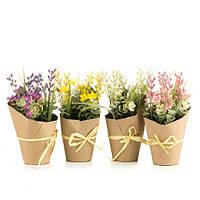 Цветы искусственные в вазоне 21 см (комплект 4 шт.)
