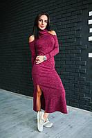 Платье стильное с высоким воротником из ангоры меланж длинное за колено 3 цвета SMdi1729, фото 1