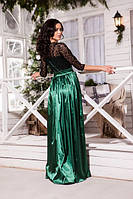 Женское нарядное платье в пол,шикарный гипюр +атлас