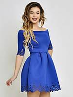 Женское платье,неопрен, отделка низа юбки и рукава ― перфорация