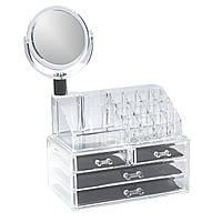 Компактный Акриловый Органайзер для хранения косметики Cosmetic Organizer c зеркалом H